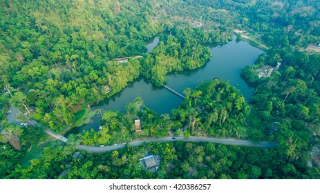 aerial top view of forest mountain in asian Thailand