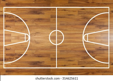 Aerial top view of a hardwood basketball court