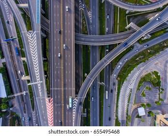 Aerial top view of highway and circle in Bangkok, Thailand