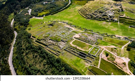 Aerial top view of the inca ruins of Sacsayhuaman on the outskirts of Cusco, Peru. Archaeological site of ancient Incan citadel.