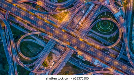 Aerial top view interchange of a city, Expressway is an important infrastructure in city.