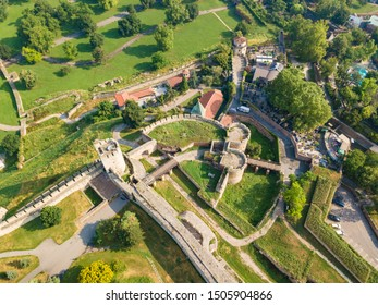 Aerial top view to Kalemegdan fortress at Belgrade. Summer photo from drone. Serbia