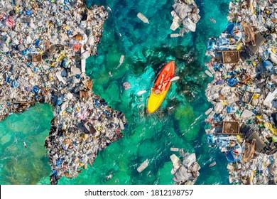 Aerial top view Kayak boat turquoise blue water sea.