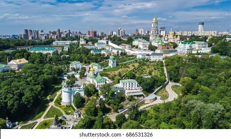 Aerial top view of Kiev Pechersk Lavra churches on hills from above, Kyiv city, Ukraine