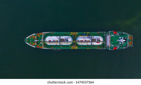 Aerial top view LPG tanker, Business logistic import and export oil and gas transportation.