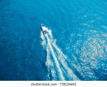 aerial top view luxury yacht sailing in sea .