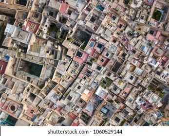 Aerial top view of the old Medina in Fes, Morocco (Fes El Bali Medina)