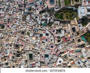 Aerial top view of the old Medina in Fes, Morocco (Fes El Bali Medina)