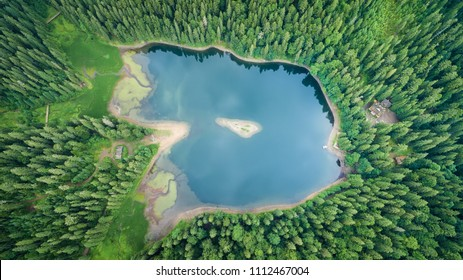Aerial top view on heart of Ukrainian part of Carpathians Mountains - the lake Synevyr, similar approximately a dragon eye.