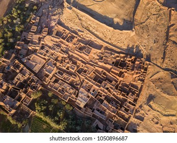 Aerial top view on Kasbah Ait Ben Haddou in the Atlas Mountains, Morocco