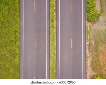 Aerial top view over the road and highway