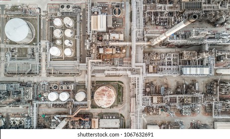 Aerial top view petrochemical plant, Aerial view oil refinery.