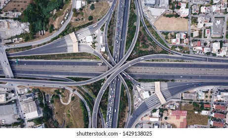 Aerial top view photo of national road multilevel junction with Attiki odos highway, Attica, Greece