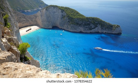 Aerial top view of Shipwreck Navagio beach of Zakynthos, Zante Island in Greece
