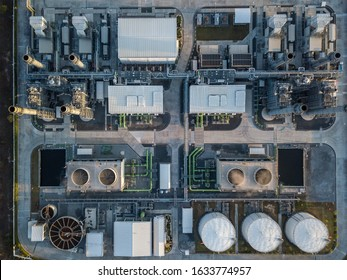 Aerial top view shot of power plants and natural gas storage tanks Steel equipment.