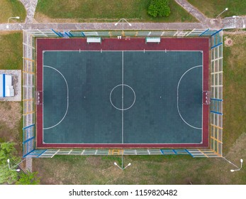 aerial top view of sports ground for handball in public park. drone photography