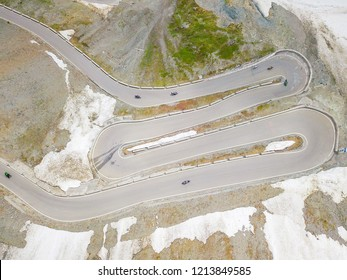 Aerial top view view of the Stelvio pass