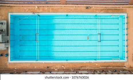 Aerial Top View Of A Swimming Pool