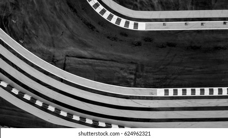 Aerial top view track competition, detail of a section of a road in competition.