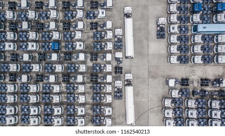 Aerial top view of white cargo trailer parking, trailer line up for slae.