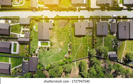 Aerial. Townhouse cottages settlement area. Top view from drone.