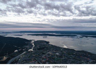 Aerial Townscape Bay View of Kandalaksha Town located in Kola Peninsula in Nothern Russia