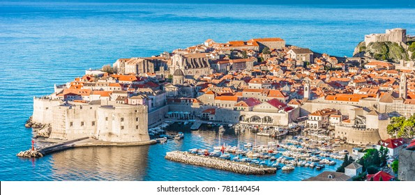 Aerial townscape of Dubrovnik city in Croatia, panorama view - Adriatic Sea scenery.
