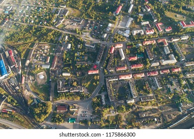 Aerial Townscape of Kandalaksha Town located in Kola Peninsula in Nothern Russia