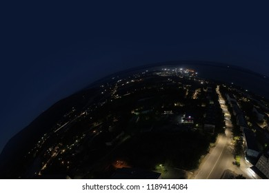 Aerial Townscape of Kandalaksha Town located in Kola Peninsula in Nothern Russia at Night