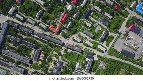 Aerial Townscape and Suburbs of Kandalaksha Town located in Kola Peninsula in Nothern Russia