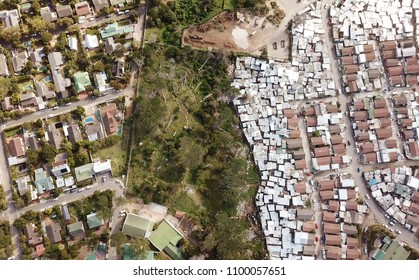 Aerial of township and suburbs in South Africa