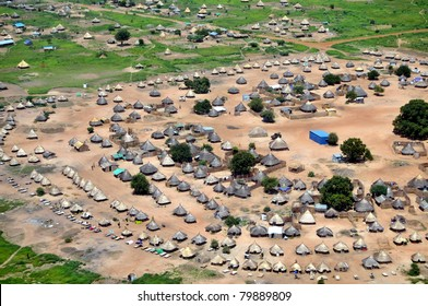 Aerial of traditional African housing, in South Sudan