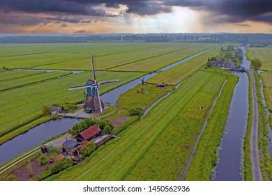 Aerial from a traditoinal windmill in the countryside from the Netherlands