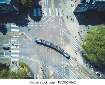 Aerial of Tram in Europe