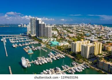 Aerial travel destination Miami Beach Florida USA