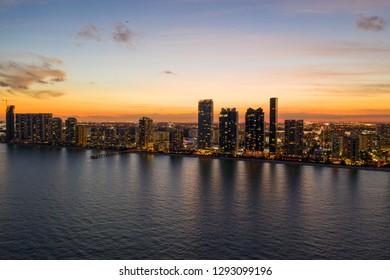 Aerial Twilight photo sunny Isles Beach FL