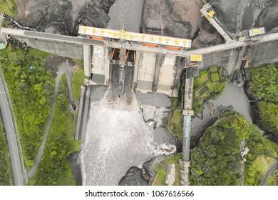 Aerial Unique View Over Empty Water Dam