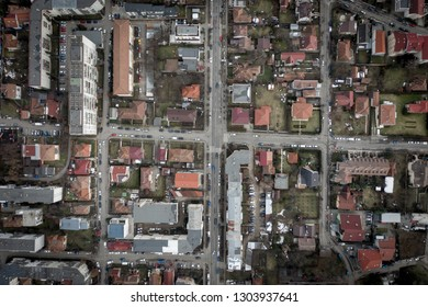 Aerial urban landscape, houses and flat of blacks from a drone. Above view of Cluj Napoca, city, Romania