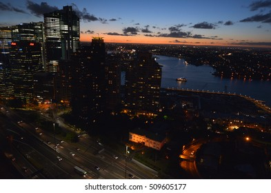 Aerial urban landscape view of Darling Harbour at  sunset in Sydney New South Wales, Australia