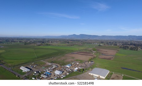 Aerial valley view of Oregon's Willamette Valley.