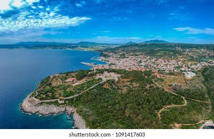 Aerial veiw of Pylos city and the castle. It is one of the best preserved castles in Greece. New Navarino or Niokastro, located near the entrance of the port of Pylos. Messenia, Greece, Europe