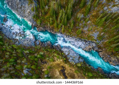 Aerial Vertical View Over The Surface Of A Mountain River Glomaga, Marmorslottet , Mo i Rana