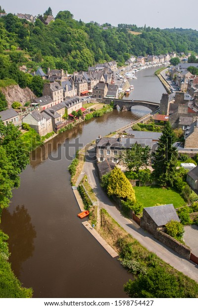 Aerial vertical view of Port of Dinan, Brittany, France