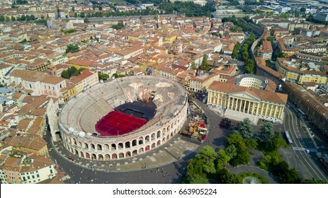 Aerial video shooting with drone of Verona, city on the Adige river in Veneto famous for Romeo and Juliet a Shakespeare's play, has been awarded World Heritage Site status by UNESCO