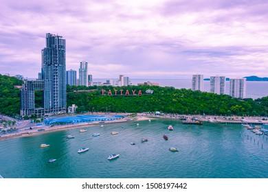 Aerial vie of Pattaya city alphabet on the mountain, Pattaya Th