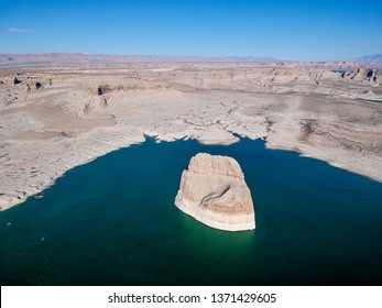 Aerial vief of Lone Rock at Lake Powell, Arizona, USA