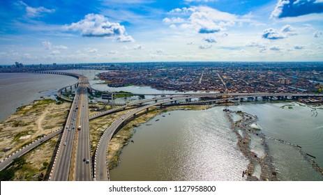 Aerial vieiw of Third mainland Bridge Lagos Nigeria