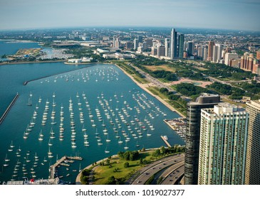 Aerial vier of Chicago, Illinois on Lake Michigan.
