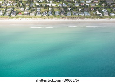 Aerial vies of a beach in New Zealand