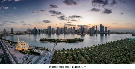 A aerial view of the 1000 palm trees and the cityscape of sharjah,use.